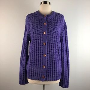 Vintage 60s Purple Crew Neck Cardigan Sweater
